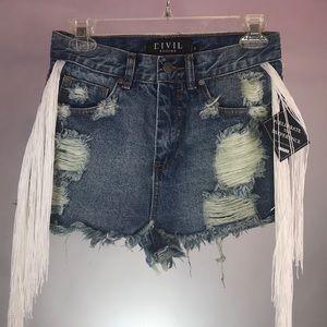 White fringe distressed denim shorts